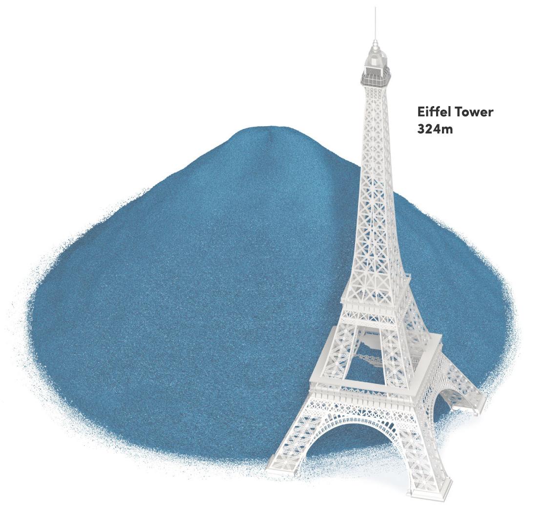 Eifell Tower next to 1.3 billion bottles