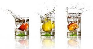 glasses of fruity water